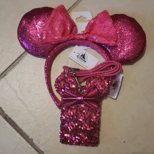 Disney Parks Imagination Pink Ears and lanyard